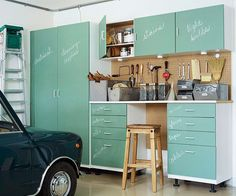 Garage Makeover: Awesome chalkboard cabinet facing to be able to change out a title with the contents of each drawer or cabinet. Plus, love the green to add some life to a boring garage. Armoire Garage, Garage Storage Cabinets, Garage Organization, Locker Storage, Organized Garage, Utility Cabinets, Organization Ideas, Garage Shelving, Basement Storage