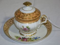 19th C. Old Paris Porcelain Lidded Tea Cup & Saucer