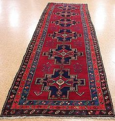 4 x 13 PERSIAN MESHKIN Tribal Hand Knotted Wool RED BLUE Runner Oriental Rug