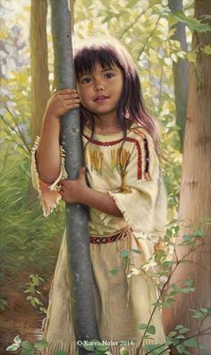 Natures Touch Original Oil on Linen 13 X 8 -Western and Native American Fine Art by Karen Noles Native Child, Native American Children, Native American Pictures, Native American Beauty, American Indian Art, Native American History, American Indians, American Symbols, Native American Paintings