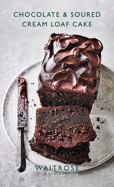 Indulgent chocolate loaf cake baked with soured cream for a richer flavour. Tap for the full Waitrose & Partners recipe. Chocolate Loaf Cake, Chocolate Desserts, Chocolate Cream, Baking Recipes, Cake Recipes, Dessert Recipes, Loaf Recipes, Just Desserts, Delicious Desserts