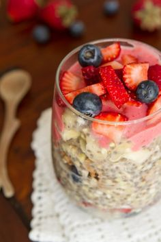 Roll out of bed and enjoy this no-cook parfait all summer long with barely any effort at all. This breakfast is similar to my vegan overnight oats and buckwheat porridge recipes, but with a fun, crunchy texture. Buckwheat and chia seeds are both high in protein and fibre and chia seeds contain all kinds of healthy omega fats. Add in some fruit and you have yourself a balanced breakfast.