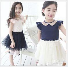 Girls tutu dress fly sleeve sequined lapel yarn Pompon vest dress
