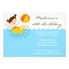 CUTE Girl Pool Party Birthday Invitation