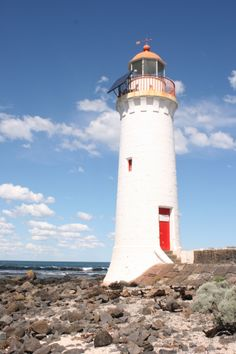 Griffiths Island Lighthouse, Port Fairy, Victoria - built of bluestone in 1859; height 11 metres