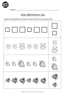 free aab and abb patterns worksheet for kindergarten level continue the patterns by drawing the. Black Bedroom Furniture Sets. Home Design Ideas