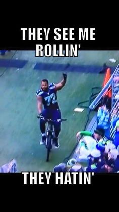 Michael Bennett after the 2015 NFC Championship game! Seattle Seahawks Memes!!!! #SuperBowlRePete