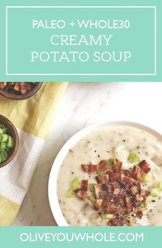 Nourish your gut with this healthy Creamy Potato Soup recipe! It's a simple soup recipe that works for both the Paleo and Whole30 diets. | whole30 | paleo | whole30 recipes | paleo recipes | whole30 soup recipes | paleo soup recipes || Olive You Whole #whole30recipes #paleorecipes
