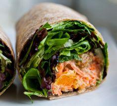 Clean Eating Recipe Box: Kathy's Smoky Tempeh Wrap - with Citrus Carrot Slaw Wrap Recipes, Veggie Recipes, Lunch Recipes, Vegetarian Recipes, Healthy Recipes, Healthy Foods, Yummy Recipes, Dinner Recipes, Recipes