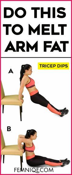 Intense Arm Fat Exercises Without Weights - Easy but effective arm fat exercises that requires no weights! Triceps Dips is one of the best arm fat workouts to get rid of flabby arms.