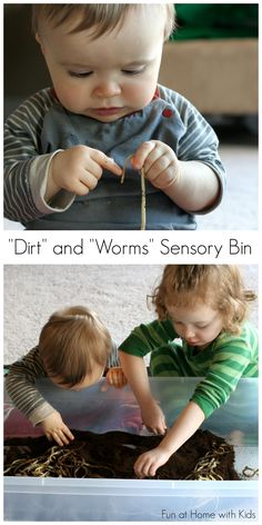"""""""Dirt"""" and """"Worms"""" all ages sensory bin.  Edible and great fine motor practice for the little ones.  From Fun at Home with Kids"""
