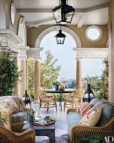 A Palladio-inspired loggia off the living room looks out over Los Angeles | archdigest.com