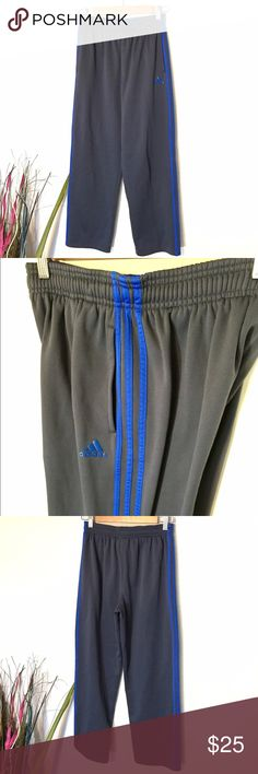 Adidas Original Track Pants Adidas Original Track Pants. Grey/Blue 3 Stripe. Size Youth L - Fits size Women's Small. Excellent condition! Adidas Pants
