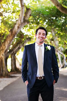 Navy Blue Groom's Suit and Champagne Tie