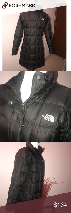 The North Face Metropolis Parka Warm down-insulated jacket with contoured quilting for waist definition. Removable, snap-off hood (included). Down cocoon brim on hood adds warmth and protection. Two-way front zip. Covered-zip hand pockets. Great condition, just a small flaw inside the right pocket: I got a hole patched on the jacket that was patched through the pocket a bit, causing a tiny hinge when you put your hand in the pocket but nothing serious and you can't tell there was a patch…