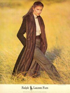 Cappotto con pelliccia Vintage di Ralph Lauren 1980