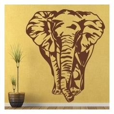"Style and Apply Big Elephant Wall Decal Size: 28"" H x 24"" W, Color: White"