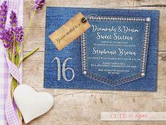 Diamonds & Denim Sweet 16 Invitation Quinceanera Teen