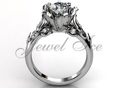 14k white gold diamond unusual unique flower by Jewelice on Etsy