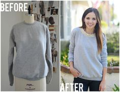 Easy Lace Embellished Sweatshirt DIY