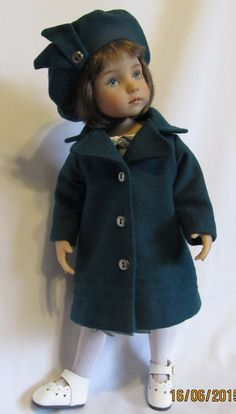 "Wool Coat & Beret Fits 13"" Little Darling Dolls~ An Original KeepersDollyDuds Design. This coat and hat are made of turquoise wool and features working buttons, three rows of stitch detail near the bottom, and a full lining. The beret. has a little button detail. This set, along with the little gray and turquoise cotton dress, are Eve Coleman's first Little Darling designs. Let's hope she does more...."
