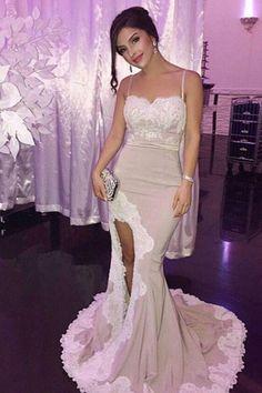Sexy Slit Mermaid Spandex Prom Dresses,2017 Spaghetti Straps Long Party Dress,Long Lace Prom Dresses N46