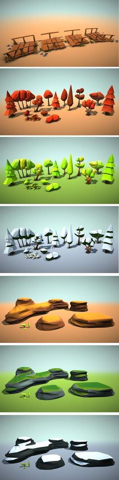 Low Poly Environment Pack for all of you that want to make low poly style environments easily. All models are coloured by vertex color techniques, so no textures and only a few materials are needed. Different environments: Dessert, forest, winter, autumn.: