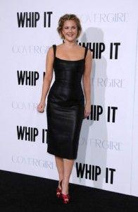 Drew Barrymore in Leather Dress