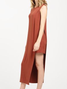 Jersey Midi Dress with Asymmetric Overlay in Brown  https://www.paisie.com/collections/new-in/products/jersey-midi-dress-with-asymmetric-overlay-in-brown