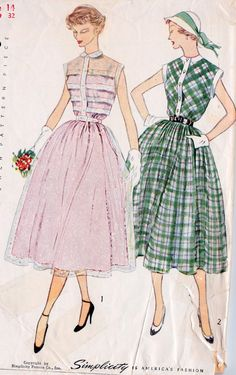 1950s Misses Shirtwaist Dress Vintage Sewing Pattern, Summer Fashion, Party Dress Simplicity 3252 bust 32""