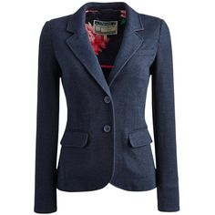 Joules Henford Tweed Blazer , Navy (205 CAD) ❤ liked on Polyvore featuring outerwear, jackets, blazers, casacos, navy, blue blazer, long sleeve jacket, blue tweed jacket, lined jacket and short jacket