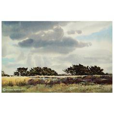 Field with distant junipers Watercolor, 36×54 cm (14.5×21.5 inches) Location: Balloërveld, Nationaal Landschap Drentsche Aa, the Netherlands. June 2016 - €895