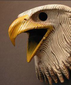 Bald Eagle Mask, Hand Carved Wood Sculpture