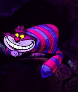And the Cheshire Cat is my favorite too. ;P I like how his grin looks like the moon, or it that the moon looks like him? Hmm...