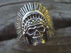 Indian skull ring in sterling silver by Billyrebs on Etsy, $109.00