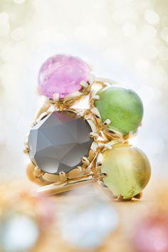 Tourmalines & gold / Moonstone & gold #ateliertorbjorntillander #jewellery #jewelry