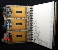 Love her use of a vintage book, vellum pages and little pockets.  Beautiful work.