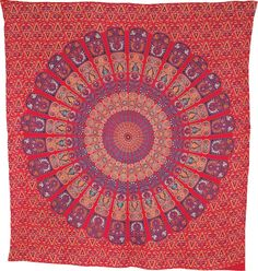 Deesa Bohemian Mandala Tapestry, Wall Hanging and Bedspread (Large, 7 X 8 Feet, Red and Purple, 100% Cotton, Fair Trade Certified) | Luna Bazaar