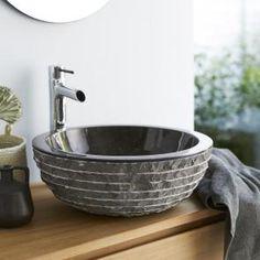Lavabo in marmo nero Scrula Bamoro Tikamoon Terrazzo, Shower Cabin, Downstairs Loo, D 40, Metal Mirror, Basin Sink, Lake Cottage, Black Marble, Bathroom Interior Design