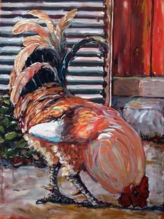 """""""Big Red (My little rooster)"""" - Original Fine Art for Sale - © Rick Nilson"""