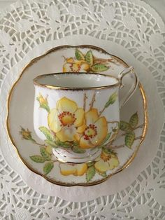 Royal Albert bone china porcelain teacup and saucer set, made in England, stamped Wild Rose and 277 Cup And Saucer Set, Tea Cup Saucer, Tea Cups, Porcelain Ceramics, China Porcelain, Antique China, Rare Antique, Teapots And Cups, Rose Tea