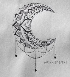 B&W Moon Mandala Design # Mandala Tattoo Mandala Tattoo Design, Dotwork Tattoo Mandala, Geometric Tattoo Design, Tattoo Designs, Geometric Designs, Trendy Tattoos, New Tattoos, Body Art Tattoos, Tattoo Drawings