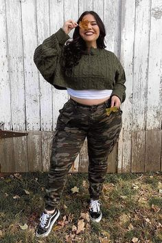 Cadet Kim Oversized Camo Pants - Camo - Best Picture For vogue fashion For Your Taste You are looking for something, and it is going to t - Thick Girls Outfits, Curvy Girl Outfits, Cute Casual Outfits, Plus Size Outfits, Stylish Outfits, Thick Girl Fashion, Plus Size Fashion For Women, Curvy Fashion, Petite Fashion