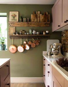 Home Decor Kitchen, Kitchen Interior, New Kitchen, Home Kitchens, Kitchen Dining, Kitchen Ideas, Earthy Kitchen, Sage Kitchen, Kitchen Racks