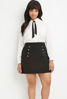 Plus Size Button-Front Ribbed Skirt   Forever 21 PLUS - 2000179928