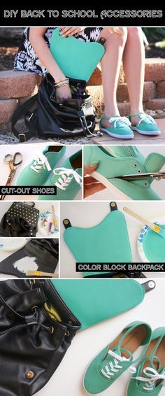 DIY Back to School Accessories — love the idea of painting the inside of the bag flap Gilet Jeans, Painting Backpack, Bracelet Wrap, Diy Back To School, Diy Accessoires, Do It Yourself Fashion, Diy Vetement, Shoe Crafts, School Accessories