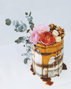 Layers of salted caramel, chocolate brownie & raspberry flourless cake baked with love to celebrate a birthday