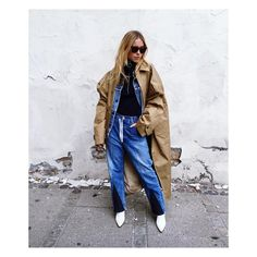 Pernille teisbaek baggy patchwork denim, white heels