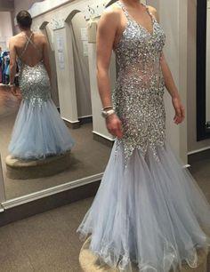 Sparkly Beaded Spaghetti Strap Mermaid Prom Dress d9c62332de08
