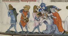 zwei Soldaten mit Buckler, BNF Latin 10483 Breviarium ad usum fratrum Predicatorum, fol. 118r, 1323-1326, Frankreich.
